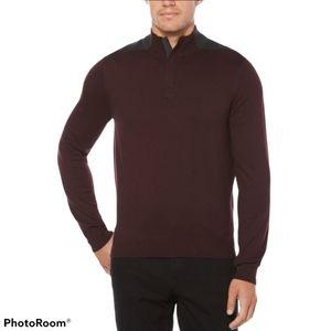 PERRY ELLIS 1/4 zip mock neck burgundy sweater XL